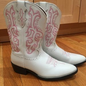 Justin Cowgirl Western Boots White Leather 4 EUC